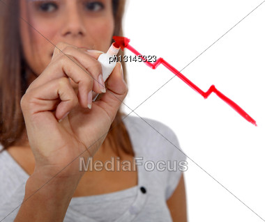 Woman Drawing A Red Upwards Arrow Stock Photo