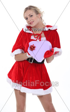 Woman Dressed As Mrs Claus Stock Photo