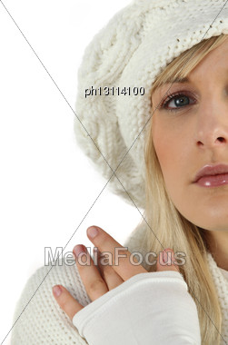 Woman Dressed For Cold Weather Stock Photo