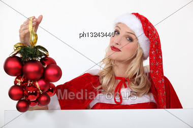 Woman Dressed In Festive Outfit Stock Photo