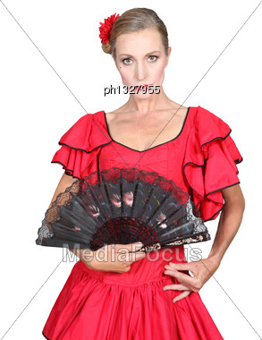 Woman Dressed In Spanish Attire Stock Photo