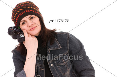 Woman Gamer With Joystick Stock Photo
