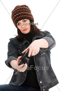 Woman Gamer With Joystick Stock Photo