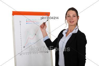 Woman Giving A Presentation Stock Photo