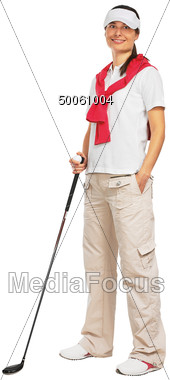 Woman Golfer With Putter Stock Photo