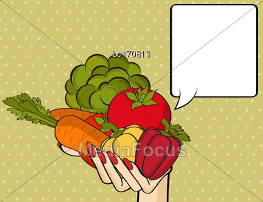 Woman Hand With Many Vegetables. Vector Illustration Stock Photo