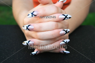 Royalty-Free Stock Photo: Woman Hands With Nail Art Fingers