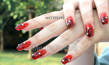 Woman Hands With Nail Art Fingers Stock Photo