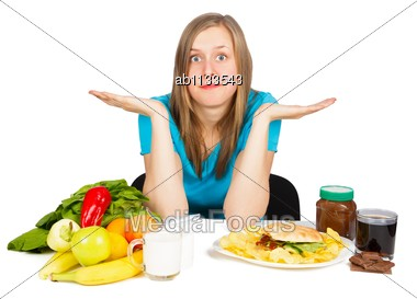 Woman In Hard Situation, Choosing Between Two Lifestyles Stock Photo