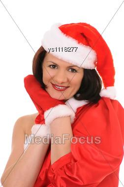 Woman In Hat Santa Stock Photo