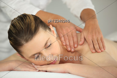 Woman Having A Back Massage Stock Photo