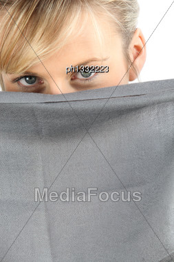 Woman Hiding Her Face Stock Photo