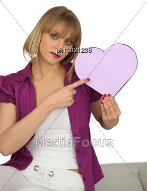 Woman Holding A Heart-shaped Box Stock Photo