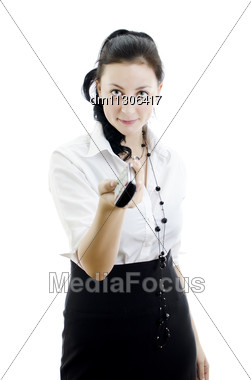 Woman Holding Remote Control Stock Photo