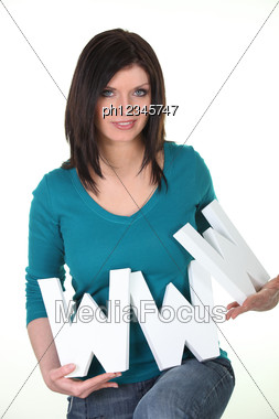 Woman Holding The Symbol Www Stock Photo