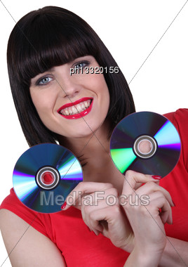 Woman Holding Two CD Stock Photo
