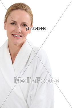 Woman In Bath Robe Stock Photo