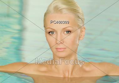 Woman in Spa Pool Stock Photo
