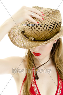 Woman In Straw Hat. Isolated On White. Stock Photo
