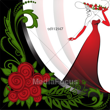 White Long Dress on Woman In A Long Red Dress In Black And White Background With Roses