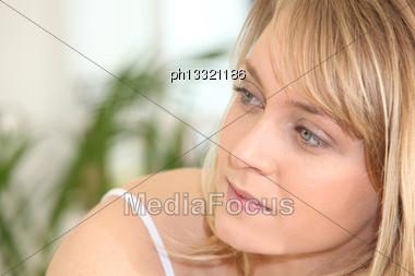 Woman Looking Sideways Stock Photo