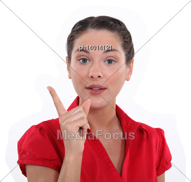 Woman Making A Point Stock Photo