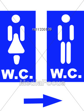 Woman And Man Restroom Signs On Public Toilet. Stock Photo