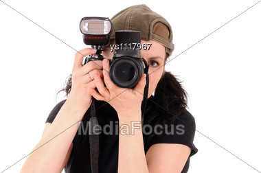 Woman The Photographer Is Photographed Close Up Stock Photo