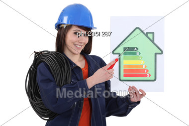 Woman Pointing At Energy Rating Poster Stock Photo