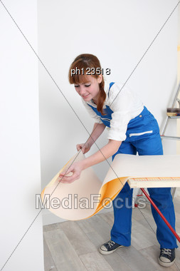 Woman Preparing Wallpaper Stock Photo