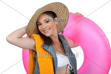 Woman Ready To Go To Beach Stock Photo