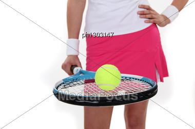 Woman Ready To Play Tennis Stock Photo