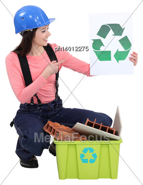 Woman Recycling Construction Materials Stock Photo