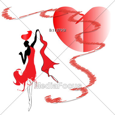 Woman In Red Dress Dancing Passionate Dance With Love Stock Photo