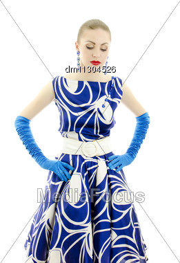 Woman In Retro Style Looking Down. Isolated Over White Background. Stock Photo
