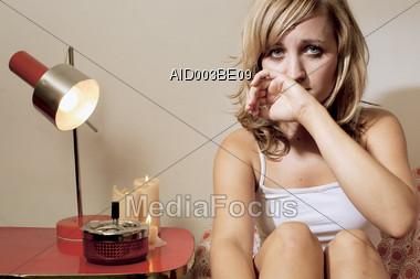 Woman Sad and Depressed Stock Photo