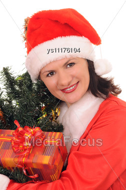 Woman Santa With Christmas Fir-tree Stock Photo