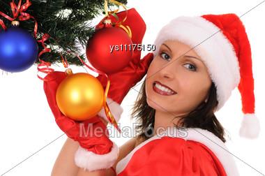 Woman Santa With Christmas-tree Stock Photo