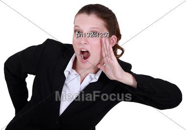 Woman Screaming Stock Photo
