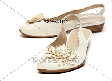 Woman Shoes Pair Isolated On White Background Stock Photo