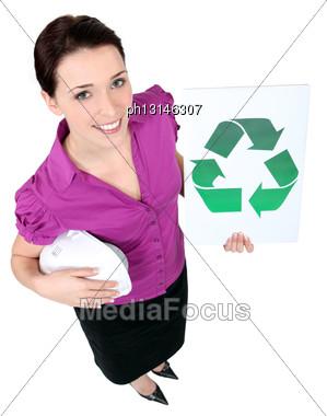 Woman Showing Recycling Logo Stock Photo