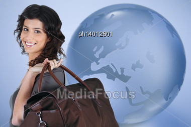 Woman Travelling All Over The World Stock Photo