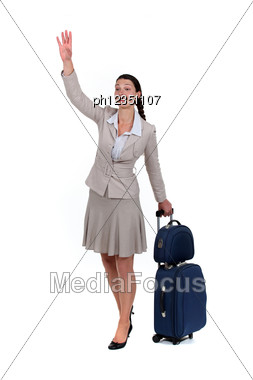 Woman Waving Goodbye Stock Photo