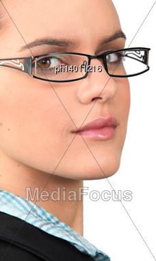 Woman Wearing Glasses Stock Photo