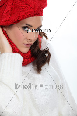 Woman Wearing Warm Clothing Stock Photo
