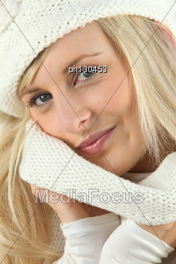 Woman Wearing Wool Clothes Stock Photo