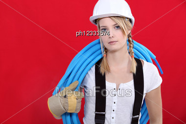 Woman With A Tube Stock Photo
