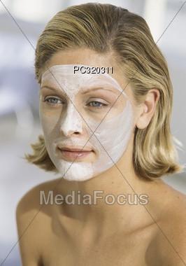 Woman with Facial Stock Photo