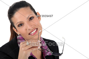 Woman With Glasses In Hand Stock Photo