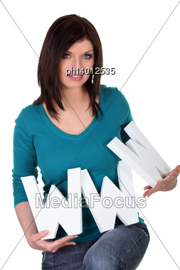 Woman With Letters Www Stock Photo